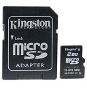◇ 【2GB】 Kingston/キングストン microSDカード SD変換アダプタ付 海外リテール SDC/2GB ◆メ