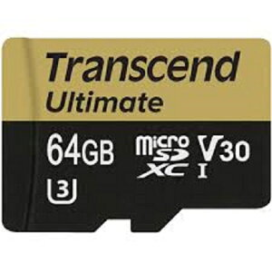 ◇ 【64GB】 Transcend トランセンド microSDXCカード UHS-I U3 V30対応 633X(R:95MB W:60MB) MLC採用 TS64GUSDU3M ◆メ
