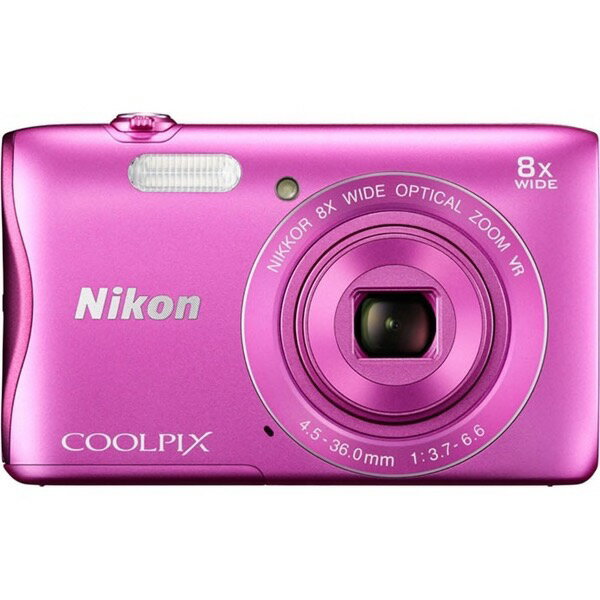 ◇ Nikon ニコン デジタルカメラ COOLPIX S3700 光学8倍ズーム 2005万画素 Wi-Fi内蔵 NFC対応 ピンク COOLPIXS3700PK ◆宅