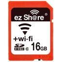 ◇ 【16GB】 ezShare Wi-Fi機能搭載SDHCカード Class10 Android/ iOS両対応 海外リテール Wi-FiSD-16G ◆メ