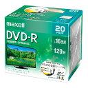 DVD-R 録画用 maxell 日立マクセル 4.7GB 標準120分 16倍速 CPRM ひろびろ美白レーベル プリンタブル 20枚パック DRD120WPE.20S ◆宅