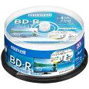 BD-R 録画用 maxell 日立マクセル 1-4倍速 25GB 130分 ひろびろ美白レーベル ホワイト 30枚スピンドル BRV25WPE.30SP ◆宅
