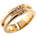 [送料無料]クロス リング ダイヤモンド ダイヤ 幅広 指輪 ピンキーリング ピンクゴールドk18 K18 婚約指輪 エンゲージリング リング ダイヤモンドリング メンズ レディース18k 18金 クリスマスプレゼント【楽ギフ_包装】