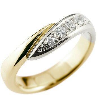 [送料無料]婚約指輪 エンゲージリング ダイヤモンドリング 指輪 コンビリング イエローゴールドk18 プラチナ 18金 18k ピンキーリング ダイヤ スパイラル ウェーブリング レディース【_包装】0824カード分割【コンビニ受取対応商品】 個性が光るデザインダイヤモンドリング
