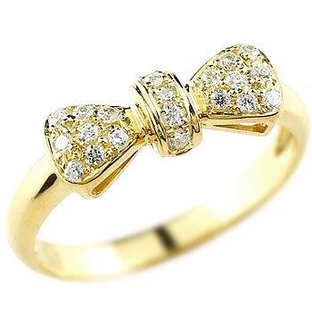 [送料無料]婚約指輪 エンゲージリング リボン りぼん リング ダイヤモンドリング イエローゴールドk18 指輪 ダイヤモンド リング ピンキーリング 18金 レディース【_包装】0824カード分割【コンビニ受取対応商品】 ダイヤモンドが輝くリボンリング