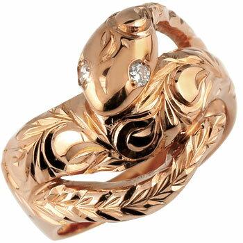 [送料無料]ハワイアンジュエリー 蛇 リング ダイヤモンド ダイヤ スネーク 指輪 ピンクゴールドk18 ハワイアンリング 18金 レディース メンズ18k 18金【_包装】0824カード分割【コンビニ受取対応商品】 個性をアピールしたい貴女にお勧め