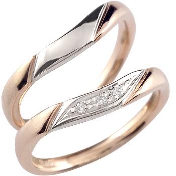 [送料無料]ペアリング 結婚指輪 マリッジリング ダイヤ ダイヤモンド ピンクゴールドk18 プラチナ ハンドメイド ソフトライン 2本セット18k 18金【_包装】0824カード分割【コンビニ受取対応商品】 【大切な人との愛の証しに、毎日のジュエリーパートナー】