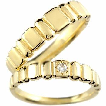 [送料無料]ペアリング イエローゴールドk18 ダイヤ ダイヤモンド 結婚指輪 マリッジリング ハンドメイド 2本セット18k 18金【_包装】0824カード分割【コンビニ受取対応商品】 【大切な2人の記念日に「いつも一緒」の想いを込めて】