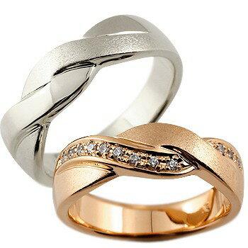 [送料無料]ペアリング ホワイトゴールドk18 ピンクゴールドk18 18金 ダイヤモンド 結婚指輪 マリッジリング ウェデングリング 結婚記念 幅広 ホーニング つや消し 結婚式  ハンドメイド 2本セット18k 18金【_包装】0824カード分割【コンビニ受取対応商品】 【大切な人との絆を結ぶ】