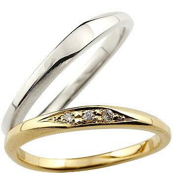 [送料無料]ペアリング マリッジリング 結婚指輪 結婚記念リング ウェディングリング ウェディングバンド ダイヤモンド ホワイトゴールドk18 イエローゴールドk18 18金 細め 荒し ダイヤモンドポイント加工 つや消し 2本セット【_包装】0824カード分割 【ずっと大切にしたい2人の気持ちをリングに託して】