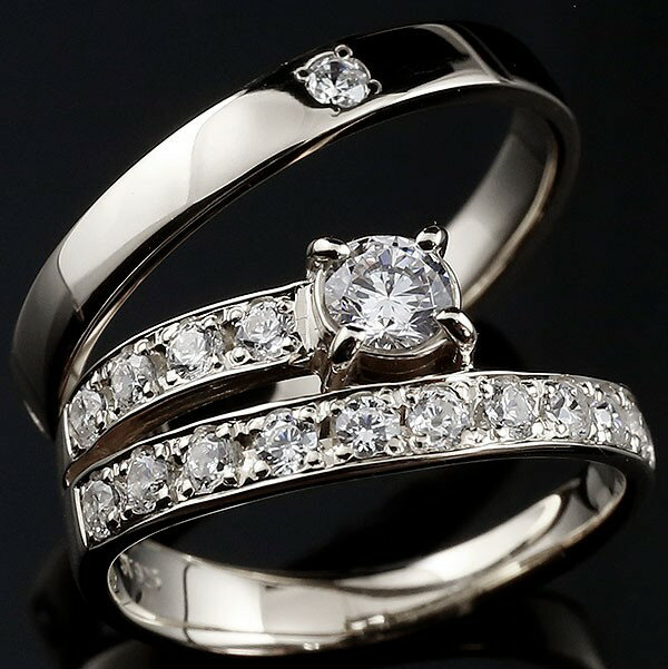 [送料無料]結婚指輪 マリッジリング ホワイトゴールドk18 ペアリング 18金 18k ダイヤモンド エタニティ リング 大粒 リング ダイヤ 2本セット【_包装】0824カード分割【コンビニ受取対応商品】 【光の糸で結ばれている、2人の幸せの証】