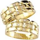 18金 ペアリング 結婚指輪 マリッジリング ダイヤ ダイヤモンド イエローゴールドk18 幅広 2本セット 結婚記念 ブライダルリング 18k 1..