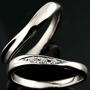 [送料無料]結婚指輪 ペアリング マリッジリング指輪 ダイヤ ダイヤモンド ホワイトゴールドk18 ハンドメイド 2本セット18k 18金【_包装】0824カード分割【コンビニ受取対応商品】 【2人の永遠の誓いをリングに託して】