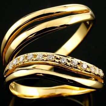 [送料無料]ペアリング 結婚指輪 マリッジリング イエローゴールドk18 ダイヤモンド ウェーブライン ハンドメイド 2本セット18k 18金【_包装】0824カード分割【コンビニ受取対応商品】 【2人の幸せがいつまでも続きますように】