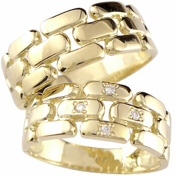 [送料無料]結婚指輪 マリッジリング ペアリング ダイヤ ダイヤモンド 4石 イエローゴールドk18 ハンドメイド 幅広 2本セット 18k 18金【_包装】0824カード分割【コンビニ受取対応商品】 【2人の一途な愛を誓う 幸せの証】