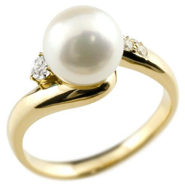 [送料無料]真珠 指輪 パール ダイヤモンド リング イエローゴールドk18 18金 18k ピンキーリング 本真珠 ダイヤ レディース【_包装】0824カード分割【コンビニ受取対応商品】 高級感溢れるあこや本真珠 手元を上品に彩るパールジュエリー