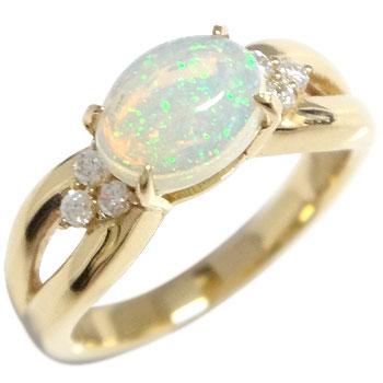 [送料無料]オパール アンティーク リング ダイヤモンド イエローゴールドk18 一粒石 指輪 ピンキーリング 10月誕生石 アンティーク 18k 18金 レディース【_包装】0824カード分割【コンビニ受取対応商品】 オパールの優しい輝きはしっとりと艶やかでとっても女性らしい印象