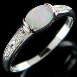 []オパール ダイヤモンド プラチナ リング 指輪 ピンキーリング 10月誕生石【楽ギフ包装】