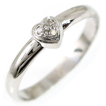[送料無料]婚約指輪 ダイヤ ダイヤモンド リング エンゲージリング ホワイトゴールドK18指輪 指輪 ハート ピンキーリング 爪なし【楽ギフ_包装】【コンビニ受取対応商品】