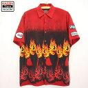 ショッピング大きい 90s ファイアーパターン チカーノシャツ 古着 ★ XLサイズ レッド