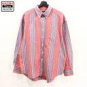 ショッピング赤 90s GAP オールドギャップ マルチストライプ 長袖 ボタンダウンシャツ 古着 ★ 表記Lサイズ ビッグサイズ レッド