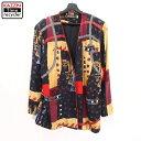 ショッピングアメカジ 90s レディース 総柄 シルク ノーカラー ジャケット 古着 ★ 表記Lサイズ ビックサイズ 大きいサイズ ブラック