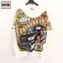 ショッピングアメカジ USA製 CHASE レーシングカー 全面プリント 半袖 Tシャツ 古着 ★ 表記Mサイズ ホワイト