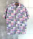 90s半袖パッチワークシャツ★★★90's1990年代アメリカ古着アメカジ古着メンズ古着中古LサイズXLサイズインド綿シャツ総柄シャツボタンダウン
