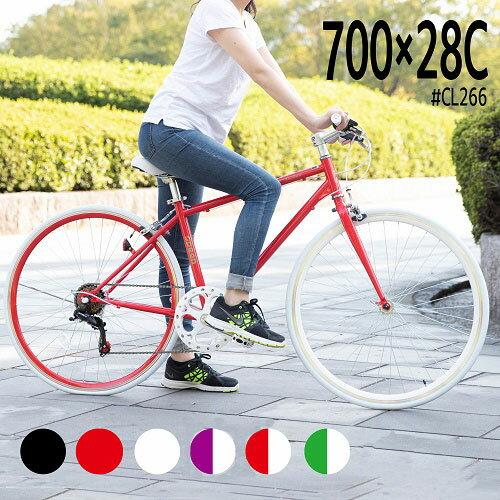 〔クーポン配布中+全品P2倍〕クロスバイクシマノ製6段変速700x28C27インチ 人気車6色自転車