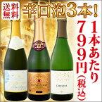 【送料無料】第2弾!!超破格!!1本あたり税込799円!京橋ワイン超人気特選スパークリングワイン3本セット!