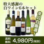 【送料無料】第30弾!美味しい辛口白ワインだけを京橋ワインが厳選!特大感謝の大満足白ワイン6本セット!!