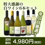 【送料無料】第39弾!美味しい辛口白ワインだけを京橋ワインが厳選!特大感謝の大満足白ワイン6本セット!!