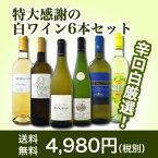 【送料無料】第40弾!美味しい辛口白ワインだけを京橋ワインが厳選!特大感謝の大満足白ワイン6本セット!!
