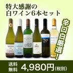 【送料無料】第51弾!美味しい辛口白ワインだけを京橋ワインが厳選!特大感謝の大満足白ワイン6本セット!!