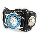 腕時計 メンズ 革 レザー KC,s ケイシイズ : レザーブレスウォッチ エスパニョーラ フリーカット ターコイズ【ブラック】