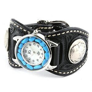 腕時計 メンズ 革 レザー KC,s ケイシイズ : レザーブレスウォッチ エスパニョーラ クラフト ターコイズ【ブラック】