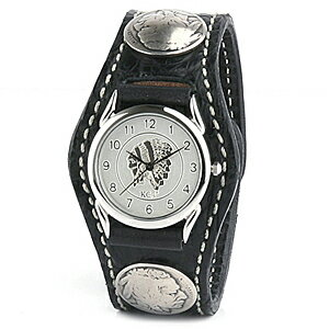KC,s ケイシイズ : レザーブレスウォッチ 3コンチョ クロコダイル【ブラック】【お取寄せ商品 入荷後発送】 腕時計 メンズ 革 エキゾチックレザー ワニ革