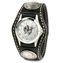 Watch men leather leather KC,s Kay chinquapin  3 leather breath watch conchos-free cut [black]
