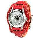 kcs ケーシーズ 腕時計 メンズ 革 金属アレルギー レザー KC,s ケイシイズ : レザーブレスウォッチ レンジャー メンズ 【レッド】