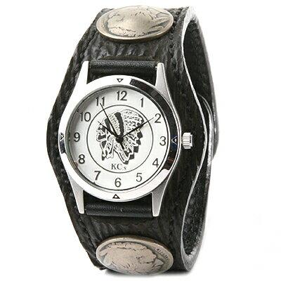 kcs ケーシーズ メンズ レディース ブランド 黒 鮫革 サメ KC,s(ケイシイズ)腕時計:レザーブレスウォッチ 3コンチョ シャーク 【ブラック】