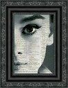 インテリア アート アートパネル アートポスター 壁掛け 絵画 アメコミ 額 フレーム 壁 リビング 現代アート A4 ビンテージ辞書にハリウッドスターのイラストをプリントしたアート オードリーヘップバーン1