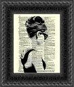 インテリア アート アートパネル アートポスター 壁掛け 絵画 アメコミ 額 フレーム 壁 リビング 現代アート A4 ビンテージ辞書にハリウッドスターのイラストをプリントしたアート オードリーヘップバーン4