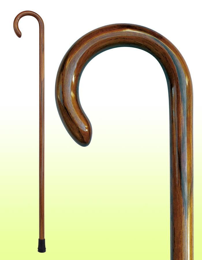 国産杖 ステッキ【縞オーク大曲ステッキ】 No.21 送料無料 福祉・介護 歩行関連用品 ステッキ・杖