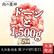 【九州産・国産】豚コマ切り落とし約1.5kg(500g×3パック) 豚小間/こま切れ/切落とし/冷凍/豚肉/