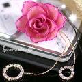 生花でつくられた、絢爛華美な大輪の薔薇リアルフラワー携帯ストラップ(ピンク/大)STP3402
