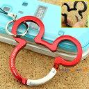 ミッキーのシルエットがお洒落な、ディズニーカラビナ携帯ストラップ(レッド)EP388RD【バッグや財布にもGOOD】【Disneyzone】