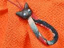 【予約】コミカル猫ちりめん携帯ストラップ 黒(N-9005)