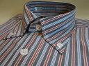 長袖ボタンダウンワイシャツ紺x赤xブルーx白のストライプ大きいサイズも登場!長袖ボタンダウンワイシャツ単品【S〜5L】ストライプ