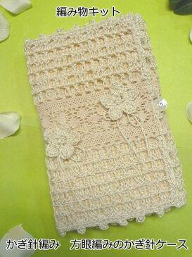 綿糸 ハマナカ アプリコラメで編むみいみオリジナルかぎ針編みケースの編み物キット方眼編みのかぎ針ケース【あみものキット/かぎ針編みキット/ニットキット/手作りキット/着分パック/無料編み図つきキット】