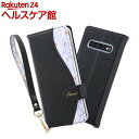 Galaxy S10 手帳型レザーケース 花柄 ハンドストラップ付 ブラック(1個)【イングレム】